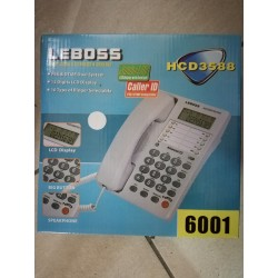 Telefono fisso Bianco con Display ID chiamante vivavoce Leboss 6001