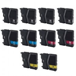 Kit 10 cartucce compatibili Brother lc-985 4xnero 2xciano 2xmagenta 2xgiallo