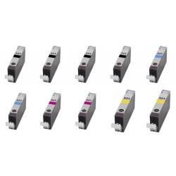 Kit 10 Cartucce Compatibili Inkjet Canon Cli-521 - pgi-520 4x Nero 6x Colore