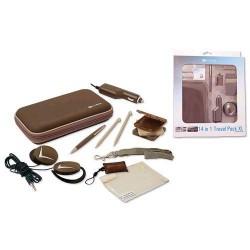 Kit travel pack marrone per nintendo ds xl custodia e altri accessori