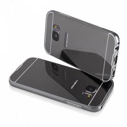 Bumper cornice in alluminio per Samsung Galaxy S7 G930 Serie Luxury grigio  con back cover a specchio