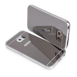 Bumper cornice in alluminio per Samsung Galaxy S6 Edge G925 Serie Luxury Argento Silver con back cover a specchio