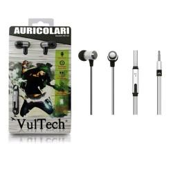Auricolari silver con jack 3,5mm + microfono bassi superiori vultech hd-02w