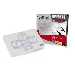 """Base di raffreddamento notebook fino a 15,6"""" 4 ventole porta usb vultech bianco"""