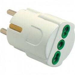 Adattatore elettrico Schuko Spina 2P+T- Presa bipasso 2P+T