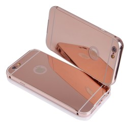 Bumper cornice in alluminio per IPhone 6 e 6S Serie Luxury Rosa Oro con back cover a specchio