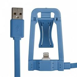 Cavo usb dati / ricarica Iphone 5 & 6 con basetta dock appoggia smartphone Blu