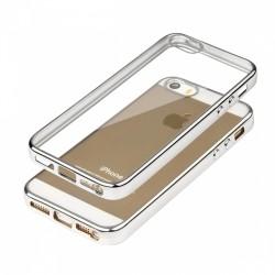 Cover Glossy in Silicone con bordino in Argento per APPLE IPhone 5 & 5S