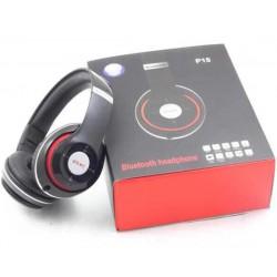 Cuffie Bluetooth Stereo Wireless Headphones P15 regolabili con jack 3.5mm Nere
