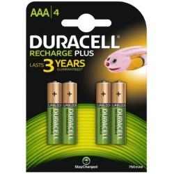 Batterie pile ricaricabili mini stilo duracell aaa conf. 4 pz.
