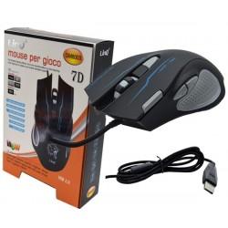 Mouse Gaming con cavo Usb con 7 tasti dpi regolabili 1200/1600/2400/3200  nero