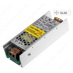 Alimentatore trasformatore in alluminio slim 12v 6A 75W ip20 ideale per telecamere strisce led ecc.